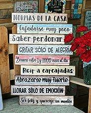 """Cuadro de madera con frases y mensajes positivos e inspiradores para decorar el hogar y regalar""""Normas de"""