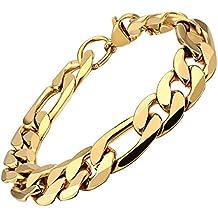 KnSam - Edelstahl Herren Armband 18k Gold Vergoldet Armreif für Männer, Gold 21cm