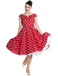 Hell Bunny 50s Nicky Vintage Stil Gepunktet Rockabilly Kleid