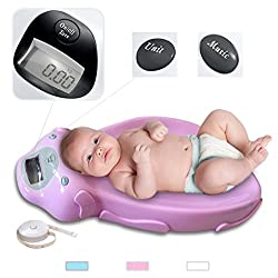 Todeco - Babywaage, Elektrische Babywaage - Größe: 65,4 x 33,2 x 11,6 cm - Maximale Belastbarkeit: 20 kg - Rosa
