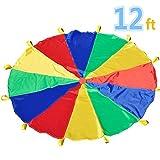 Juego del Paracaídas 12' con 12 asas para interior o exterior 3.50 m (niños de 6-12 años) - Sonyabecca - amazon.es