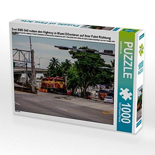 Zwei EMD G40 nutzen den Highway in Miami DOwntown auf ihrer Fahrt Richtung Hafen 1000 Teile Puzzle quer