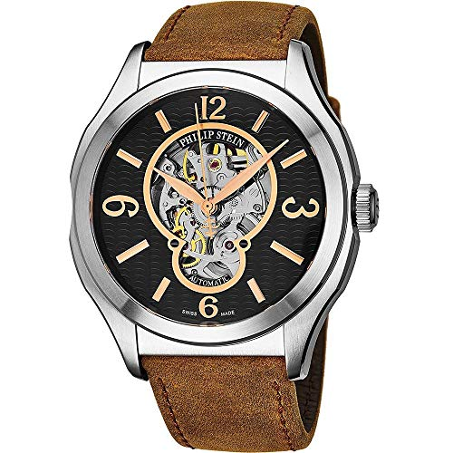 Philip Stein Homme 47mm Bracelet Cuir Marron Automatique Montre 17ASKFBCASSTBR