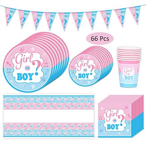 Amycute 66-teiliges Gender Reveal Party Dekoration Babyparty Geschlecht Offenbaren Baby Deko, einschließlich Teller, Becher, Servietten und Tischdecke, für 16 Personen. (Dekorationen Party Reveal)