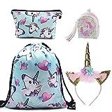 DRESHOW Unicorn Gift Sets Mochila con cordones para niñas/Collar /...