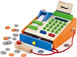 Top Race 30 Piece Wooden Cash Register, Solid Wood Cash Register with US Coins, Scanner, and Credit Card, Grocery Role Play Set