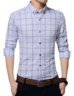 El Hombre Primavera Otoño Delgada De La Manga Larga Jóvenes Negocios Ocio A Cuadros De Gran Tamaño Camisa