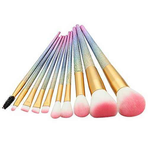 Make Up Brushes Start Makers 10 Pieces Essential Cosmetic Rainbow Makeup Brushes Set Contour Brush Powder Brush Eyeshadow Brushes Lip Brush with Pink Silicone Blender and Gift Box