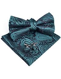 Massi Morino Conjunto de pajarita Paisley - con pajarita, pañuelo, gemelos incl. caja de regalo, pajarita de hombre en diferentes colores (Verde)