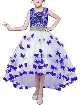HUAANIUE Mädchen Abendkleid Prinzessin Kleid Lange Röcke Kostüme Gastgeber Hochzeit Blumenmädchen
