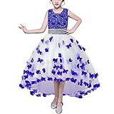 HUAANIUE Mädchen Abendkleid Prinzessin Kleid Lange Röcke Kostüme Gastgeber Hochzeit Blumenmädchen Blau 150