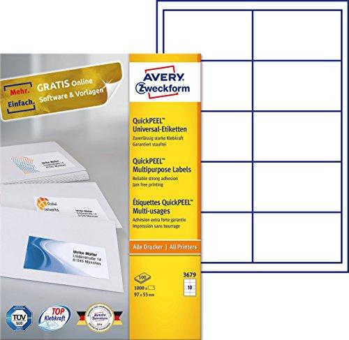 einfacher kopierer AVERY Zweckform 3679 Universal-Etiketten (A4, Papier matt, 1,000 Etiketten, 97 x 55 mm, 100 Blatt) weiß