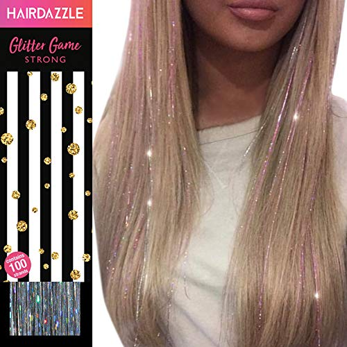 Glitzernde Haarsträhnen, Silberne holographische' - HAIR DAZZLE - Weihnachtsgeschenk, Accessoires...