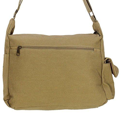 Herren Kaneva Canvas Vintage Umhänger Schultertasche Umhängetasche Messenger Bag Beige Beige
