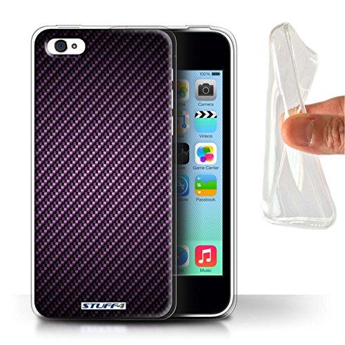 Stuff4 Gel TPU Hülle / Case für Apple iPhone X/10 / Grün Muster / Kohlenstoff-Faser-Muster Kollektion Lila