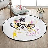 Love QAZ Runder Teppich, Abstrakte Cartoon Runden Teppich Kinderzimmer Schlafzimmer Bett Decke Hängenden Korb Decke Computer Stuhl Matten 100*100 cm150*150 cm (Farbe: #3, Größe: 100*100 cm)
