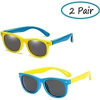 NALCY Ochiali da Sole, 2 Pezzi Sunglasses per Bambini In Gomma UV400, Occhiali da Sole per Bambino Unisex Resistente…