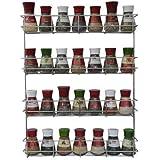 Étagère à Épices Coninx KR3000 | 4 Étages | Porte-Épices Mural ou Fixation Porte Meuble avec vis | Pour 32 Pots d'Épices | Ra