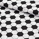 Stoff Baumwollstoff Popeline Fußball schwarz weiß -