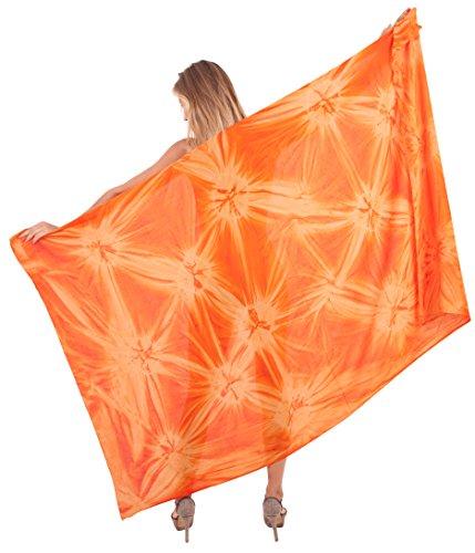 Sarong Bekleidung Pareos (LA LEELA Frauen Pareo Badehosen Schwimmen Sarong Orange 3X glatt tie dye Rayon Hand verschleiern)
