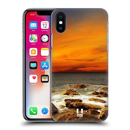 Head Case Designs Onde Trasparenti Spiagge Meravigliose Cover Retro Rigida per Apple iPhone X Cielo Rosso Sul Mare Roccioso