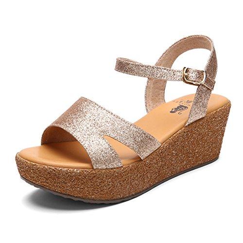 Sandales compensées/Lady Sandals de gâteau avec des semelles épaisses/Sandales d'été à talons hauts paillettes A