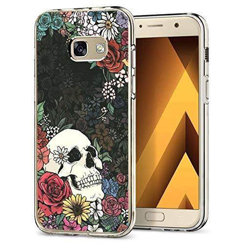 t Galaxy A5 2017 Hülle,Halloween Totenkopf Handyhülle Transparent Klar Silikon Case Ultra Dünn TPU Schutzhülle Blume Muster Bumper Cover ()