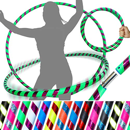 Pro HULA HOOP Reifen für Anfänger und Profis (10 Farben Ultra-Grip/Glitter Deco) Faltbarer TRAVEL Hula Hoop ideal für Hoop Dance, Fitness Training, Zirkus & Festivals! (Grun/Lila Glitter 100cm/25mm) - Glitter Hula-hoop