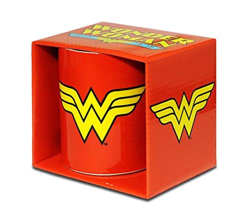 DC Comics - Wonder Woman Logo Porzellan Tasse - Kaffeebecher - rot - Lizenziertes Originaldesign - LOGOSHIRT (Kostüm Glas Milch)
