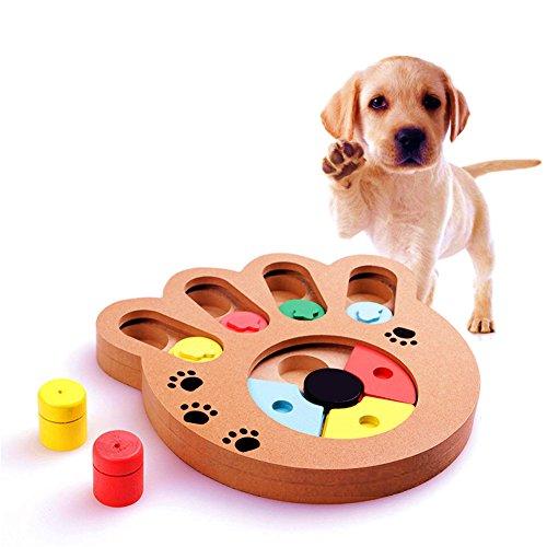 (Sotoboo Pet Intelligenz Spielzeug IQ interaktiven Spaß Hide und Seek Lebensmittel behandelt Zug kleckereien Puzzle Spielzeug aus Holz für Kleine Oder Mittelgroße Hund Katze)