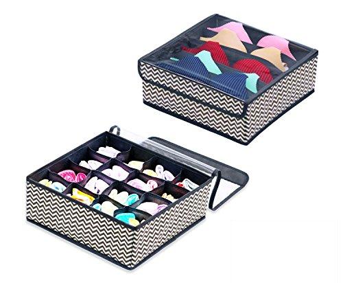 Homyfort 2 Stück Faltbare Aufbewahrungsboxen für Büstenhalter, Unterwäsche, andere kleine Zubehörteile, 16 Zellen und 5 Zellen Schubladenteiler, Schublade/Schrank Organizer, Grau/Weiß Zickzack XBS16S5 (Schrank Veranstalter Grau)