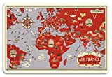 Pacifica Island Art planisfero World Route Map - Francia - Réseau Aérien Mondial - vintage Airline Travel poster by Lucien Boucher c.1930s - fine art Print Antico 8in x 12in Tin Sign