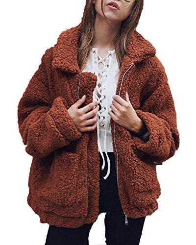 Shallgood Damen Mantel Plüschjacke Winter Winterjacke Steppjacke Warmen Outwear Reißverschluss Lange Ärmel Einfarbig Sexy Parka Dunkles Kamel DE 50