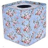 Enwraps Cream Floral Print Square Metal/tin Napkin/Tissue Paper Box/Holder/Dispenser For Home/Car/Office/Creative Living Room/Tea Table Tissue Case. LBH(inches)=5x5x2