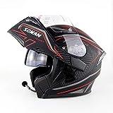 WMING Motorrad Bluetooth Helm, Multifunktions-Motorrad Doppel-Objektiv Anti-Fog-Helm Mit Bluetooth-Headset, Männer Und Frauen Vier Jahreszeiten Sicher Flip Helm,C,S