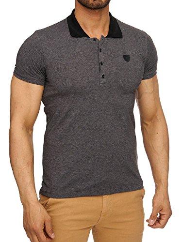 L.A.B 1928 Herren Polo Shirt T-Shirt kurzarm Poloshirt Kragen Polohemd Basic Anthrazit