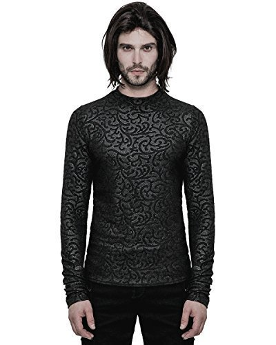 Punk Rave Mens-Gotik Oberteil schwarz Damask Langarm T-Shirt Romantische Vampir VTG - Schwarz,...