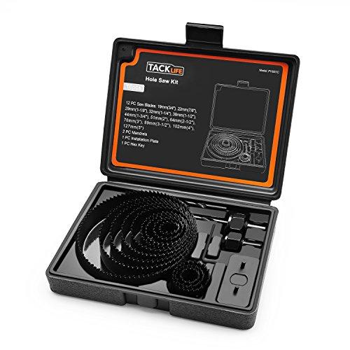 Sega a Tazza TACKLIFE PHS01C Kit di 12 Pezzi di Sega a Tazza a Diametro 19mm - 127mm, 2 x Mandrino, Chiave Esagonale, Piastra di Installazione e 1 x Scatola Adatti a Trapano Elettrici