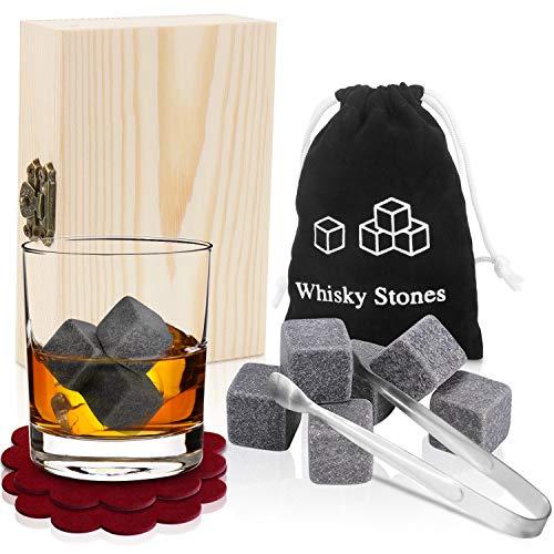 PEMOTech Whisky Stones, 9 Paare von besten Granit-Drink-Rocks, verpackt in Einer exklusiven hölzernen Geschenk-Tasche und geschmeidigen Samt-Tasche. Trinken Sie Keine Getränke Nicht mehr! -