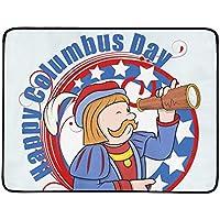 JEOLVP Hombre de Dibujos Animados Telescopio Día de Colón Gráfico Portátil y Plegable Manta Estera 60x78