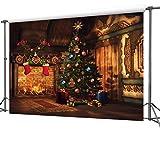 CapiSco Noël Cadeaux d'arbre Minces de Vinyle Décors photographie toile de Fond Contexte backdrop pour Photo Studio 2,7 * 1,8m XM04B