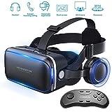 Aili VR Gafas, 3D VR Headset Auriculares De Realidad Virtual Box Virtual Glasses Controlador Bluetooth Compatible con iPhone X/8/8 Plus 7/7 Plus/6S/6 Samsung S8 / S7 & 4-6 '' Smartphones