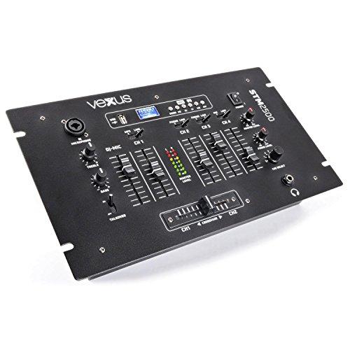 Vexus STM2500 Mixer Dj Studio professionale a 5 canali con bluetooth (sezione microfono con 2 ingressi, fader, equalizzatore a 2 bande,XLR, RCA, USB, SD)