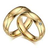 Aooaz Schmuck 1 Paar Partnerringe Gold Eheringe Trauringe Paarringe Vergoldet Edelstahl Ringe 5MM mit Laser Gravur GRATIS Damen 52(16.6) & Herren 57(18.1)