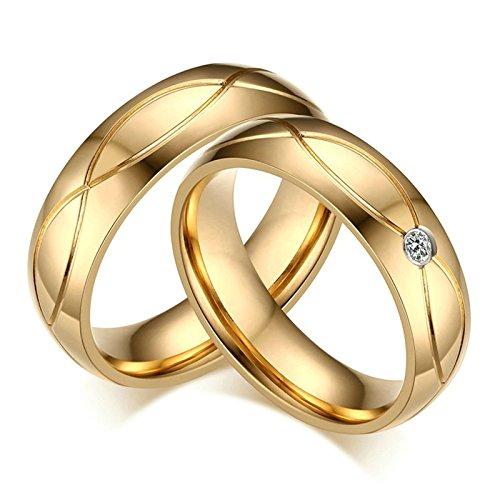 DOLOVE 1 Paar Gold Ringe Eheringe Trauringe Paarringe Vergoldet Edelstahl Ringe 5MM Mit Gratis Gravur Damen 60(19.1) & Herren 67(21.3) (Pfeil-ringe Größe 5)
