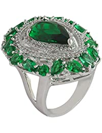 shaze Silver-Colored Fancy Green Rings for Women Stylish | Ring for Girlfriend