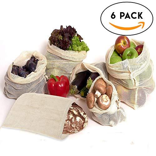 6x Obsttasche & Gemüsebeutel Set, lebensmittelbeutel , wiederverwendbar in verschiedenen Größen – Netzbeutel & Obstbeutel aus 100% Baumwolle – wiederverschließbare Tasche, netz, sack für Obst & Gemüse
