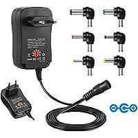 CUGLB Alimentation universelle 3 / 4,5 / 5 / 6 / 7,5 / 9 et 12 V AC / DC 2000 mA, 6 prises | Adaptateur de voyage avec port USB 5V 2.1A