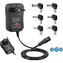 Universal Conector de fuente, CUGLB 30W 3V-12V AC/DC adaptador Fuente de alimentación conmutada Six Adaptor Plugs con Puerto USB 5V 2,1A