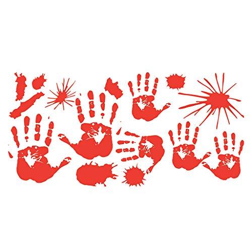 Junlinto Halloween Blutige Hand Fuß Drucken Aufkleber Wand Dekoration Ornament Party Supplies A